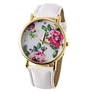 voordelige Modieuze horloges-Dames Kwarts Vrijetijdshorloge PU Band Bloem Zwart Wit Blauw Rood Bruin Groen roze