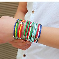European World Soccer 25cm Men's Multicolor Leather Bracelet(1,2,3,4,5,6)(1 Pc) Jewelry Christmas Gifts