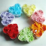 billige Badeværelsesartikler-6 kreative romantiske hjerteformede rose sæbe blomster (tilfældig farve)