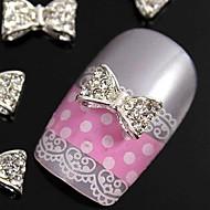 10PCS는 손가락 끝 네일 아트 장식 모조 다이아몬드 나비 넥타이 DIY 합금 액세서리를 glitting 3D