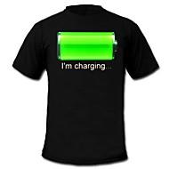 Camiseta com LED Luzes LED Activadas pelo Som Algodão Inovador 2 Baterias AAA