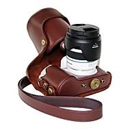 Funda protectora de la PU pajiatu® cámara de aceite de la piel de cuero para la lente Samsung NX300 18-55mm o el objetivo primordial