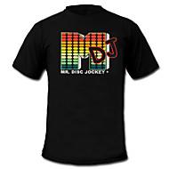 Camiseta com LED Luzes LED Activadas pelo Som Tecido Estiloso 2 Baterias AAA