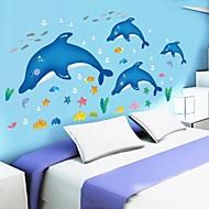 billige -doudouwo® wallstickers Veggoverførings, dyr søt og nydelig delfin fisk og sjøstjerner pvc vegg klistremerker