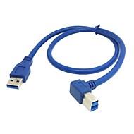 お買い得  -USB 3.0ストレートハードディスク0.5メートルの1.5フィートのためのB男性の90度直角ケーブルタイプの男性