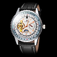 Недорогие Мужские часы-FORSINING Муж. Механические часы Наручные часы С автоподзаводом Линейка Кожа Группа Роскошь Черный