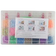 regenboog kleur mode weefgetouw kit voor diy armband (2100pcs bands + 4 pakket clips + 1 weefgetouw board + 3 haak)