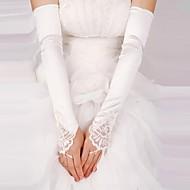 Недорогие Перчатки и рукавицы-Кружева Сатин До плеча Перчатка Свадебные перчатки