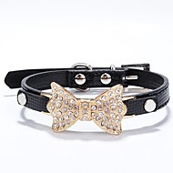 cheap Household & Pets Accessories-Cat Dog Collar Rhinestone PU Leather Rose Red Blue Pink Golden