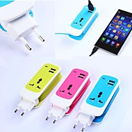 Adaptador de Carregador de Viagem para iPhone/iPad e Outros (3 em 1, USB Dupla, AC750W,100~240V,DC5V 2.1A, Ficha EU)