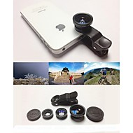 KLW 3 in 1 groothoek lens / macro lens / 180 fish eye lens / kit set voor iPhone 5/6 / ipad en anderen