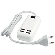 billige -4 USB-port desktop oplader strømforsyning til iPhone / iPad og andre (15w, DC5V 3a, 100 ~ 240V, EU stik, 1,5 m)