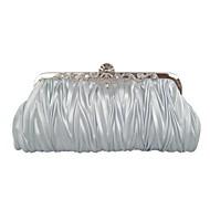 お買い得  ハンドバッグ-女性 バッグ シルク サテン イブニングバッグ クリスタル/ラインストーン ラッフル のために イベント/パーティー コーヒー レッド ピンク 青銅色 ゴールデン