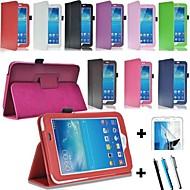 Недорогие Чехлы и кейсы для Samsung Tab-Кейс для Назначение SSamsung Galaxy Кейс для  Samsung Galaxy со стендом Флип Магнитный Чехол Однотонный Кожа PU для Tab 3 7.0