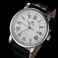 FORSINING Hombre Reloj de Pulsera El reloj mecánico Cuerda Automática Calendario Piel Banda De Lujo Negro Blanco Negro