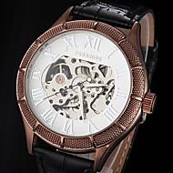お買い得  FORSINING-FORSINING 男性用 スケルトン腕時計 機械式時計 自動巻き 透かし加工 レザー バンド ぜいたく ブラック ブラウン