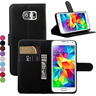 cheap Cases / Covers for Samsung-Case For Samsung Galaxy Samsung Galaxy Case Card Holder with Stand Flip Full Body Cases Solid Color PU Leather for S7 edge S7 S6 edge S6
