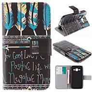 Для Кейс для  Samsung Galaxy Бумажник для карт / со стендом / Флип / С узором Кейс для Чехол Кейс для Перо Искусственная кожа Samsung J1