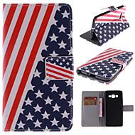 Для Кейс для  Samsung Galaxy Бумажник для карт / со стендом / Флип / С узором Кейс для Чехол Кейс для Флаг Искусственная кожа Samsung