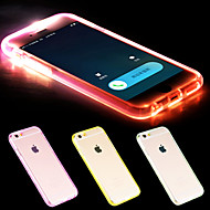 Недорогие Кейсы для iPhone-Для Кейс для iPhone 6 / Кейс для iPhone 6 Plus Мигающая LED подсветка / Прозрачный Кейс для Задняя крышка Кейс для Один цвет Мягкий TPU