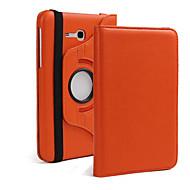 Para Samsung Galaxy Capinhas Com Suporte / Flip / Rotação 360° Capinha Corpo Inteiro Capinha Cor Única Couro PU Samsung Tab 3 10.1