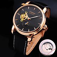 Недорогие junming-Муж. Часы со скелетом Механические часы С автоподзаводом Натуральная кожа Материал ремешка С гравировкой Защита от влаги Горячая распродажа Аналоговый Дамы Кулоны -