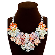 cheap Floral Jewelry-Women's Plaited Statement Necklace - Silver Plated Flower Colorful, Festival / Holiday Blue, Dark Red, Rainbow Necklace Jewelry For Party, Special Occasion