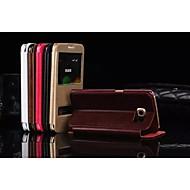 Недорогие Чехлы и кейсы для Galaxy S7-Кейс для Назначение SSamsung Galaxy Кейс для  Samsung Galaxy со стендом / с окошком Чехол Однотонный Кожа PU для S7 edge / S7 / S6 edge