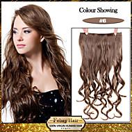お買い得  -5クリップは、より多くの色がご利用いただけ女性のためのライトブラウン(#6)髪の拡張子で人工毛クリップを波状