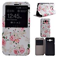 halpa Galaxy J7 kotelot / kuoret-Varten Samsung Galaxy kotelo Tuella / Ikkunalla Etui Kokonaan peittävä Etui Kukka Tekonahka Samsung J7 / J5