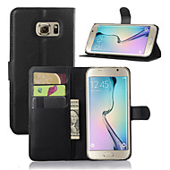 cheap Cases / Covers for Samsung-Case For Samsung Galaxy Samsung Galaxy Case with Stand with Windows Full Body Cases Solid Color PU Leather for S7 edge S7 S6 edge plus S6
