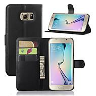 Недорогие Чехлы и кейсы для Galaxy S7-DE JI Кейс для Назначение SSamsung Galaxy Кейс для  Samsung Galaxy со стендом / с окошком Чехол Однотонный Кожа PU для S7 edge / S7 / S6 edge plus