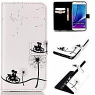Недорогие Чехлы и кейсы для Galaxy Note-Кейс для Назначение SSamsung Galaxy Samsung Galaxy Note Бумажник для карт Кошелек со стендом Флип Чехол одуванчик Кожа PU для Note 5