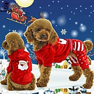 Gatos Perros Saco y Capucha Mono Rojo Ropa para Perro Invierno Primavera/Otoño Copo Navidad Año Nuevo