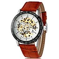 cheap -Men's Automatic self-winding Mechanical Watch Wrist Watch Hollow Engraving PU Band Luxury Brown