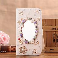 Для Кейс для  Samsung Galaxy Бумажник для карт / Стразы / Зеркальная поверхность / Флип Кейс для Чехол Кейс для Соблазнительная девушка