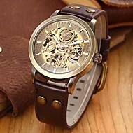 Недорогие Фирменные часы-SHENHUA Муж. Наручные часы С автоподзаводом С гравировкой Кожа Группа Люкс Черный Коричневый