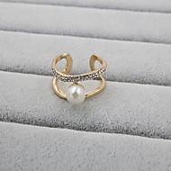 Dames Bandringen Verstelbaar Open Luxe Sieraden Kostuum juwelen Parel Strass Gesimuleerde diamant Legering Sieraden Voor Bruiloft Feest