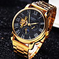 abordables Joyería y Relojes-Hombre Reloj de Pulsera / El reloj mecánico Resistente al Agua / Huecograbado Acero Inoxidable Banda Lujo Dorado / Cuerda Automática