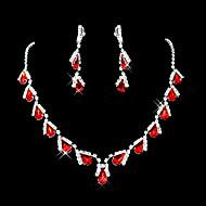 루비 의상 보석 보석 모조 다이아몬드 드롭 귀걸이 목걸이 제품 결혼 선물