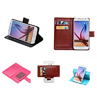 cheap Cell Phone Cases-Case For Samsung Galaxy Samsung Galaxy Case Card Holder with Stand Flip Full Body Cases Solid Color PU Leather for S7 edge plus S7 edge