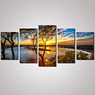 cheap Household & Pets-5 Panels Sunset River Landscape Picture Print Modern Wall Art on Canvas Unframed