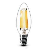 E14 Luzes de LED em Vela C35 6 leds COB Regulável Branco Quente 600lm 2700K AC 220-240V