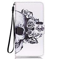 Для Кейс для  Samsung Galaxy Бумажник для карт / Кошелек / со стендом / Флип / С узором Кейс для Чехол Кейс для Череп Искусственная кожа