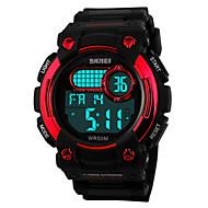 billige Mærkeure-SKMEI Herre Sportsur Armbåndsur Digital LCD Kalender Kronograf Vandafvisende alarm Sportsur Gummi Bånd Sort