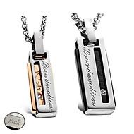 personlige smykker Valentinsdag gave elskere 'titanium stål guld / sort halskæde (et par)