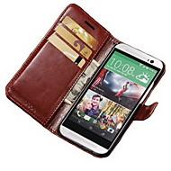 Para Funda HTC Soporte de Coche Cartera con Soporte Flip Funda Cuerpo Entero Funda Un Color Dura Cuero Sintético para HTC HTC uno M8
