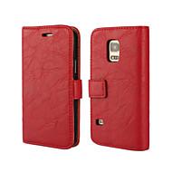 Pour Samsung Galaxy Coque Portefeuille Porte Carte Avec Support Clapet Coque Coque Intégrale Coque Couleur Pleine Cuir PU pour SamsungS5