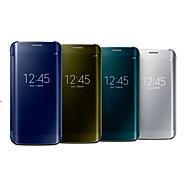 Недорогие Чехлы и кейсы для Galaxy S7-Кейс для Назначение SSamsung Galaxy Samsung Galaxy S7 Edge с окошком / Зеркальная поверхность / Флип Чехол Однотонный ПК для S7 edge / S7 / S6 edge / Прозрачный