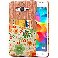 Voor Samsung Galaxy hoesje Kaarthouder hoesje Achterkantje hoesje Houtnerf PC Samsung Grand Prime / Core Prime